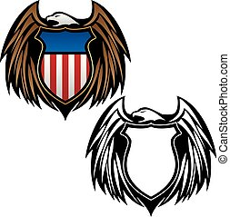 Patriotic Eagle Emblem with Shield Vector Illustration in Full Color and Black