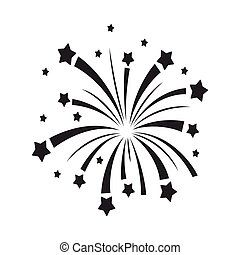 Patriotic fireworks icon in black style isolated on white background. Patriot day symbol stock vector illustration.
