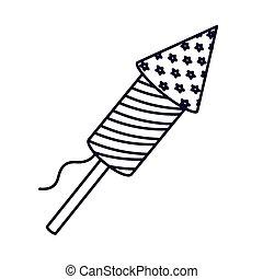 patriotic fireworks isolated icon design