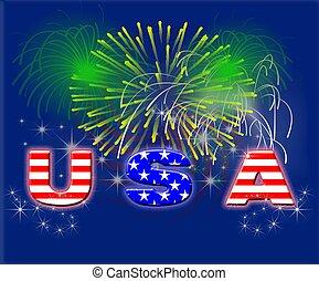 Patriotic Fireworks USA - Typography illustration of USA...