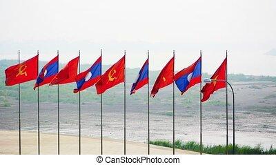 Patriotic Flag Display in Vientiane, the Capital of Laos