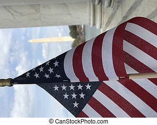 Patriotic Flag with Washington monument. Photo image -...