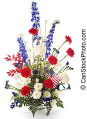 Patriotic Flower Arrangement - Flower arrangement in red,...