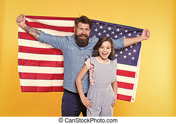Patriotic fourth of july. Patriotic family celebrating independence day. Bearded man and small child showing patriotic spirit. Embracing patriotic traditions of the usa and emphasizing patriotism