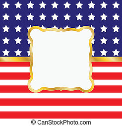 Patriotic Frame - A gold vintage style frame laid on top of...