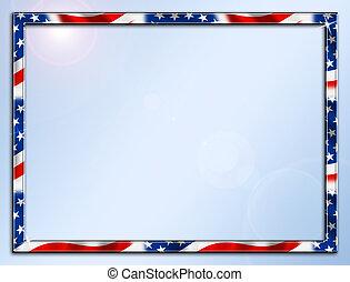 Patriotic Frame Border - Red White Blue Beveled Frame Border...