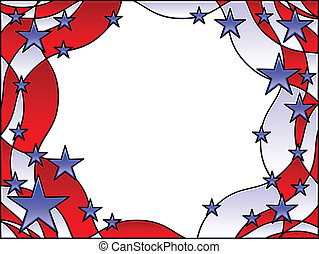 Patriotic frame - Stained glass patriotic stars and stripes...