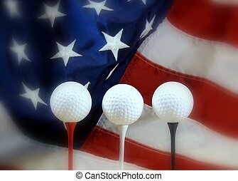 patriotic golf - three golf balls and tees with flag