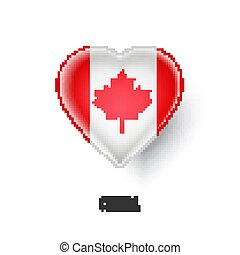Patriotic heart symbol with Canada flag