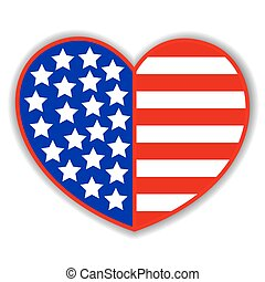 Patriotic heart with American symbols flag