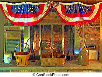patriotic hearth scene