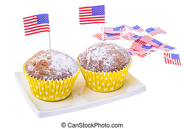Patriotic holiday 4th of july: cupcakes with American flag.