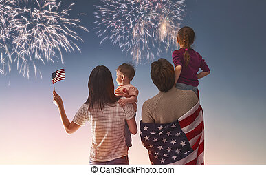 Patriotic holiday and happy family - Patriotic holiday....