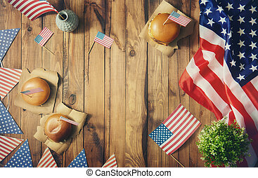 American flag on the table