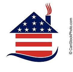 Patriotic house logo - Patriotic house illustration vector