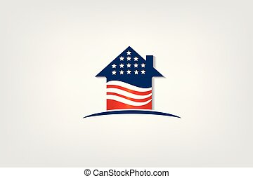 Patriotic house with USA flag logo