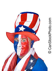 Patriotic man in costume celebrating July fourth