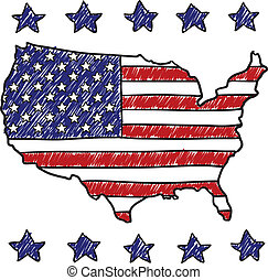 Patriotic map of the United States - Doodle style patriotic...