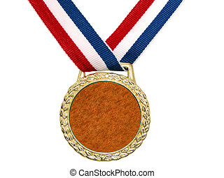Patriotic Medal - Shiny gold medal hanging from a red,...