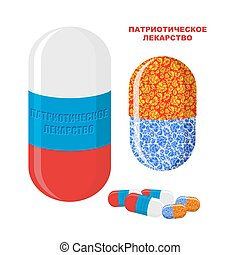 "Patriotic medicine in Russia. Pills with Russian flag. Medical Bottle with pills. Translation of Russian text: "" patriotic medicine"""
