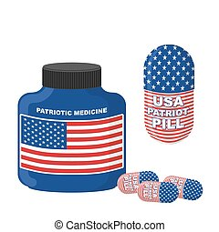 Patriotic medicine USA. Pills with flag of America. Vector illustration. Bottle with pills.