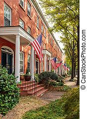 A very patriotic Norfolk Virginia neighborhood street.