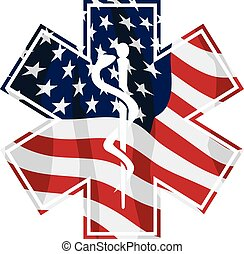 Sharp EMT Paramedic patriotic emblem with American flag overlay, isolated vector illustration for easy editing.