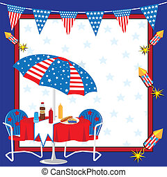 Patriotic Picnic Invitation - Invitation to a 4th of July or...