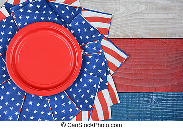 Patriotic Picnic Table Display - High angle shot of American...