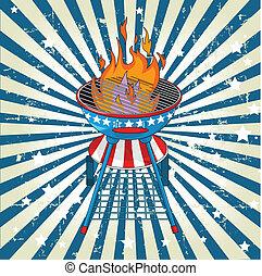 Patriotic grange radial barbeque background