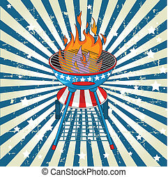 Patriotic radial barbeque backgrou - Patriotic grange radial...