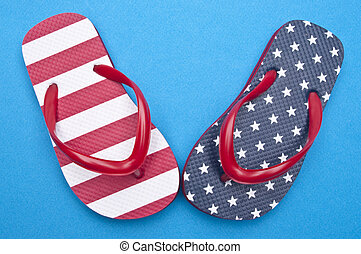 Patriotic Red White and Blue Flip Flop Sandals Ready for the...
