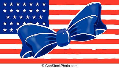 Patriotic Silk Bow - A blue and white silk ribbon bow over...