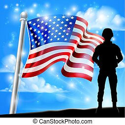 Patriotic Soldier American Flag Background Concept