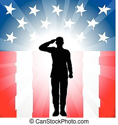 A patriotic soldier saluting in front of an American background