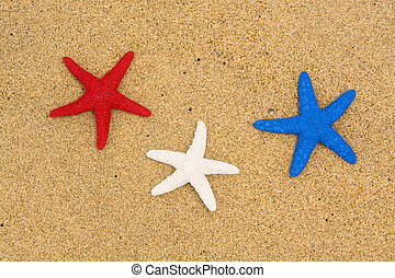 Patriotic starfish on beach