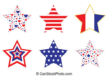 Patriotic Stars - A set of stars filled with patriotic...