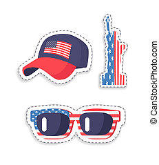 Patriotic Stickers with American Flag Colors Set