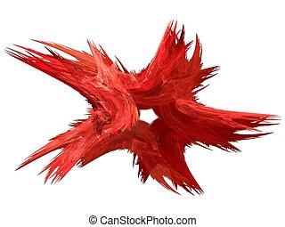 Patriotic Swirling Red Fractal Star