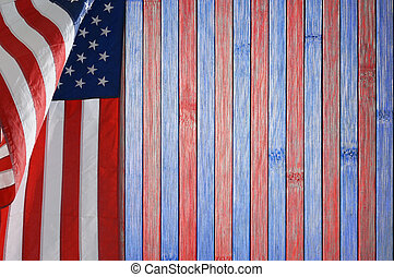 Patriotic table with US flag.