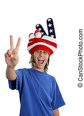 Patriotic Teen - Goofy - A teen boy in a USA patriotic hat...