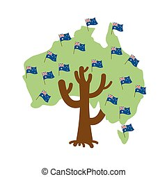 Patriotic tree Australia map. Australian flag. National political Plant. Vector illustration