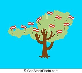 Patriotic tree Austria map. Austrian flag. National political Plant. Vector illustration