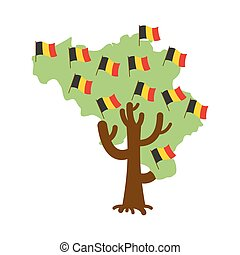Patriotic tree Belgium map. Belgian flag. National political Plant. Vector illustration