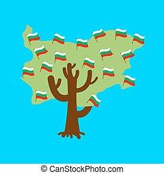 Patriotic tree Bulgaria map. Bulgarian flag. National political Plant. Vector illustration
