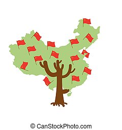 Patriotic tree China map. Chinese flag. National political Plant. Vector illustration