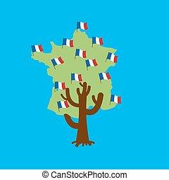 Patriotic tree France map. French flag. National political Plant. Vector illustration