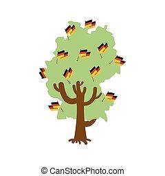 Patriotic tree Germany map. German flag. National political Plant. Vector illustration