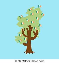 Patriotic tree Ireland map. Irish flag. National political Plant. Vector illustration