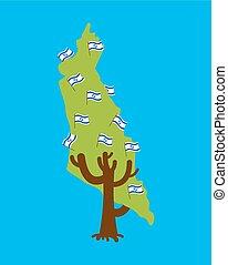 Patriotic tree Israel map. Israeli flag. National political Plant. Vector illustration